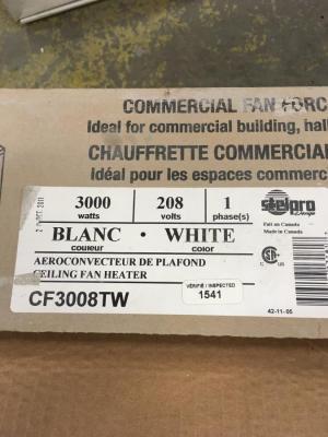 chauffage plafond<br/>chauffage plafond 3000 watts- 208 volts<br/><br/>475.00$